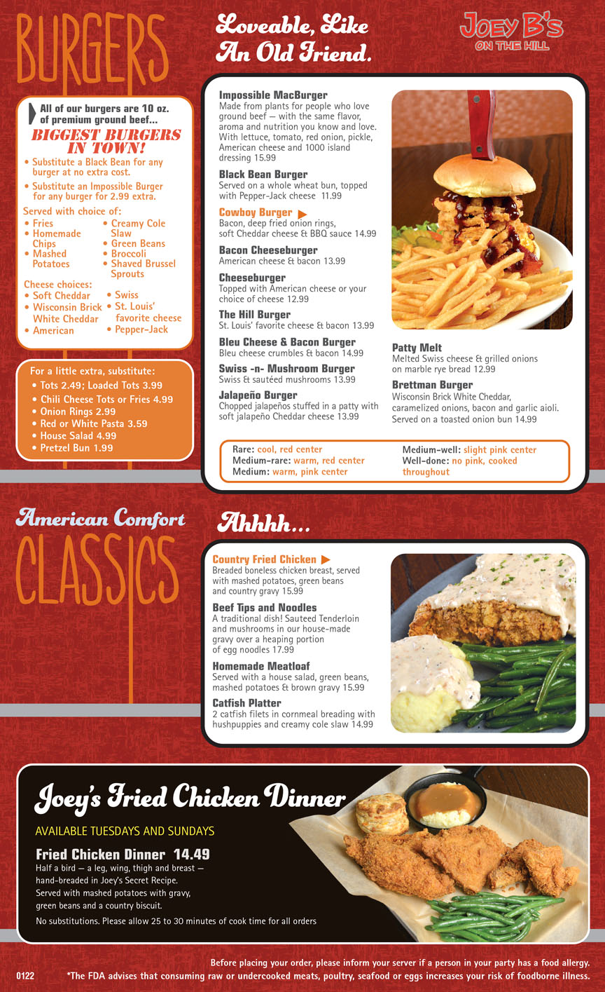 Joey B's on the Hill menu